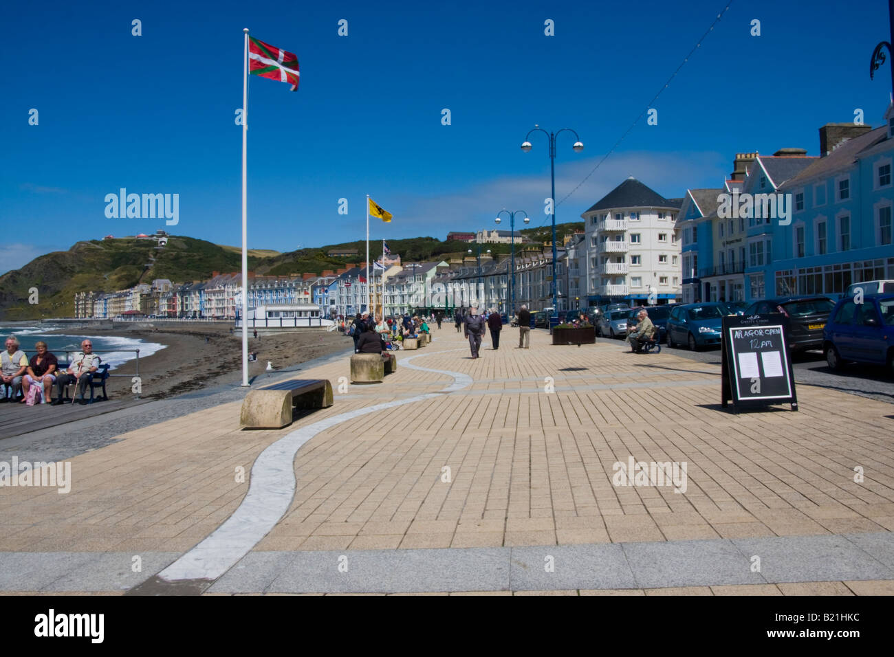 promenade in aberystwyth mid wales - Stock Image