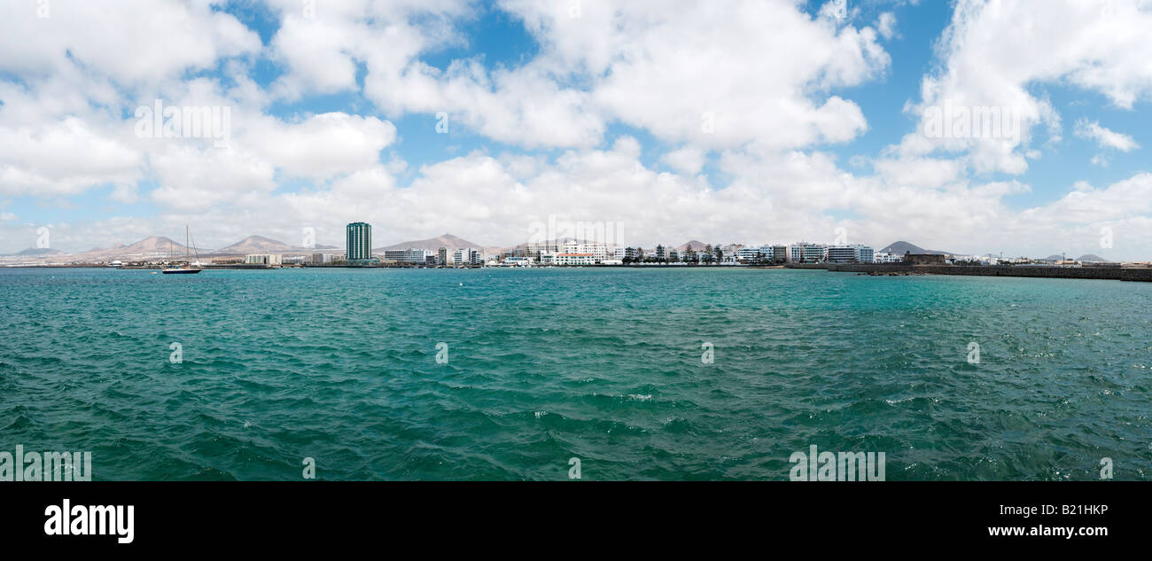 panoramic view of southern coast of Lanzarote and the city of Arrecife - Stock Image