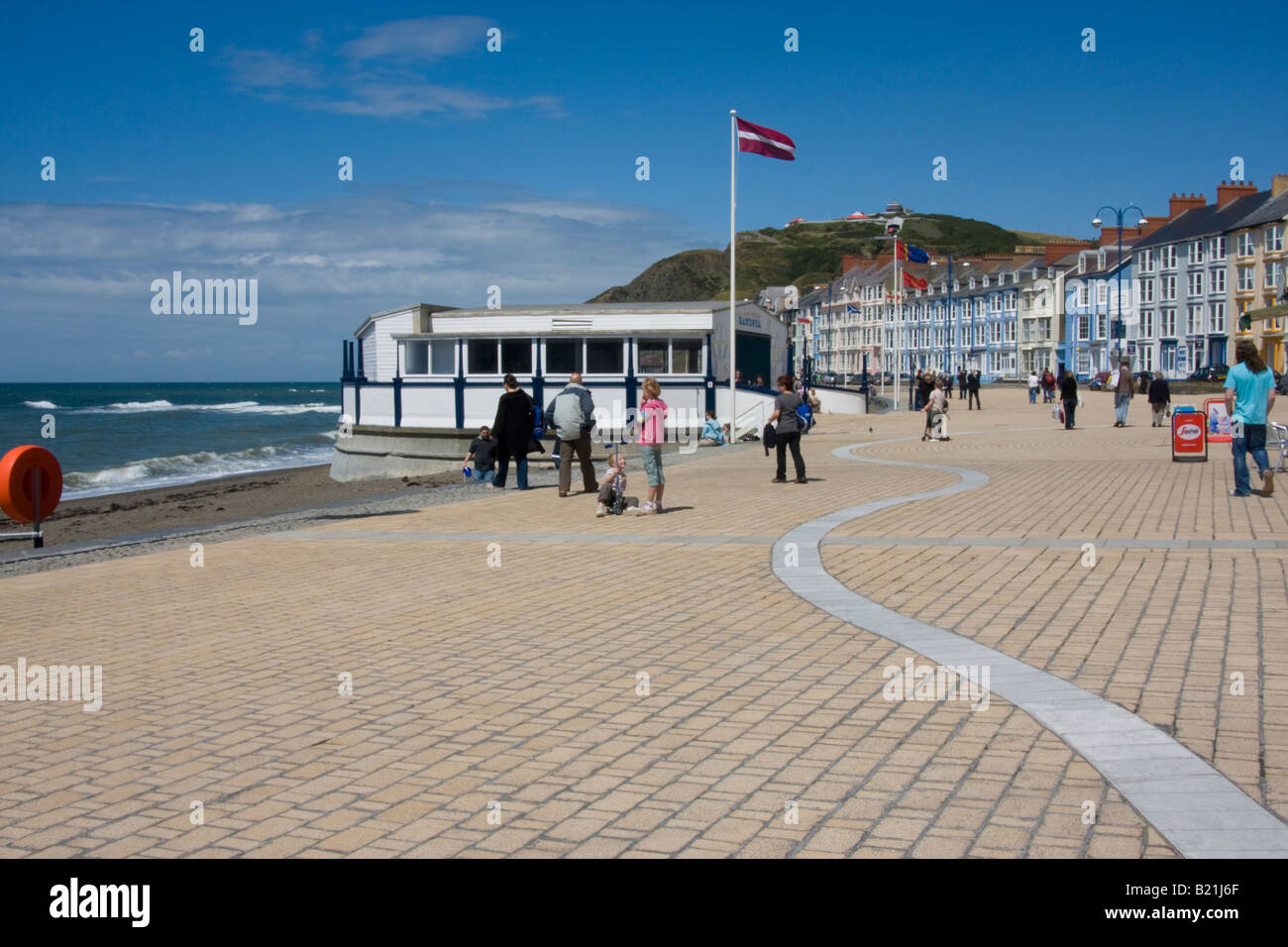 aberystwyth promenade showing bandstand and constitution hill - Stock Image