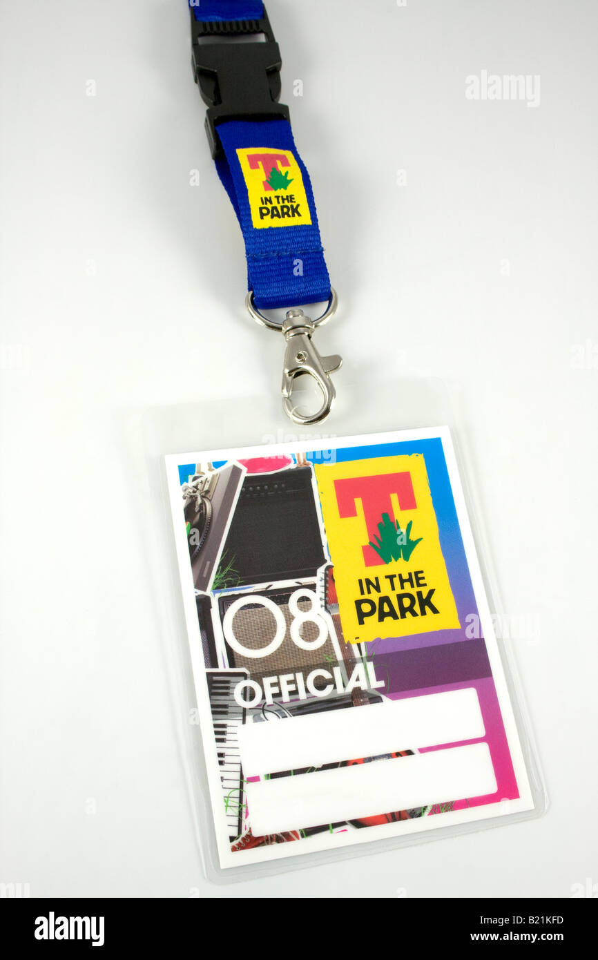 Official pass to the 'T in the Park' music festival held on the 11th-13th July 2008 in Balado, Perth and - Stock Image