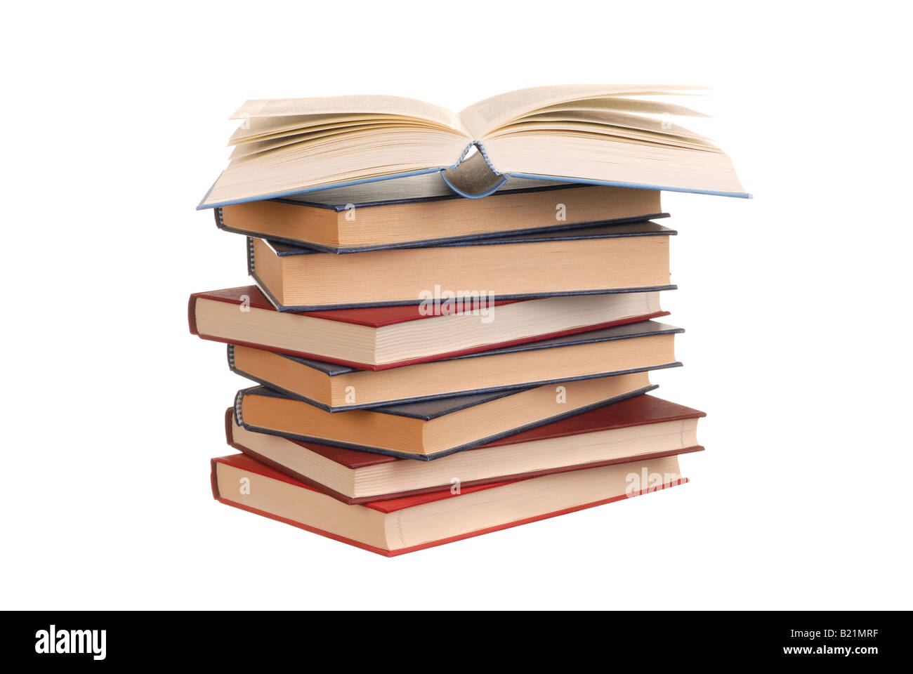Open books on book stack - Stock Image