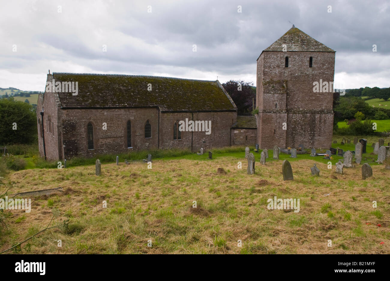 Exterior of St Michaels Church Garway Herefordshire England UK founded by The Knights Templar in the 12th Century - Stock Image