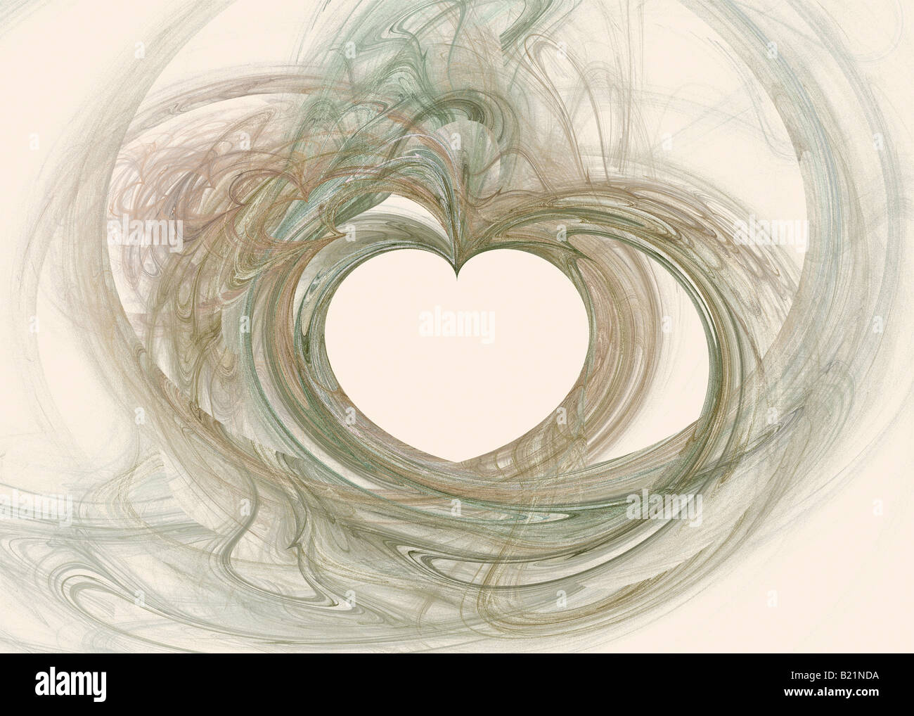 Abstract Fractal Image with Heart Motif Rendered in Warm Tones - Stock Image