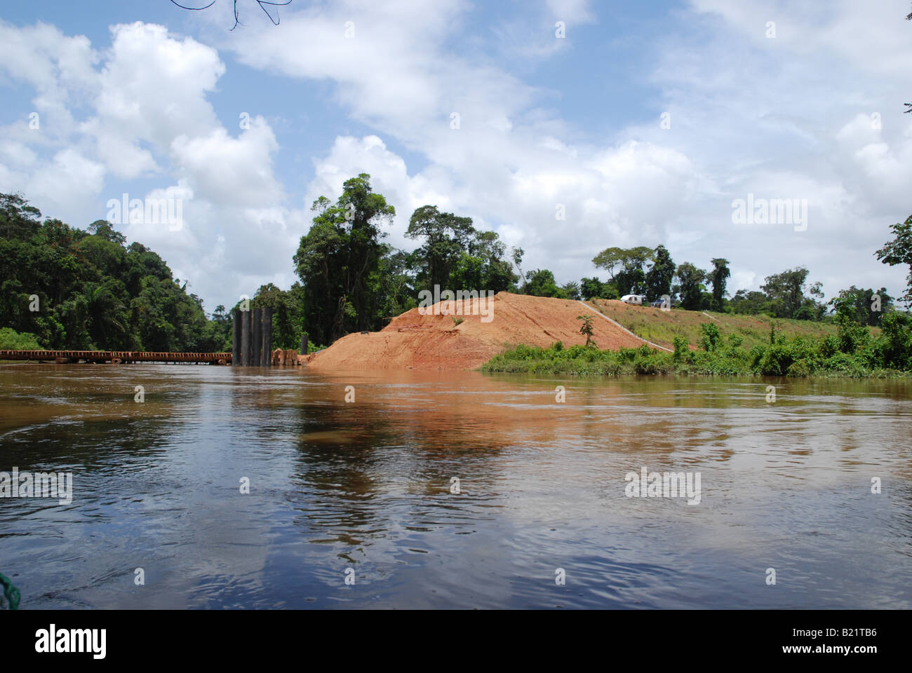 bridge building construction site on Sparouine river in french Guyana - Stock Image