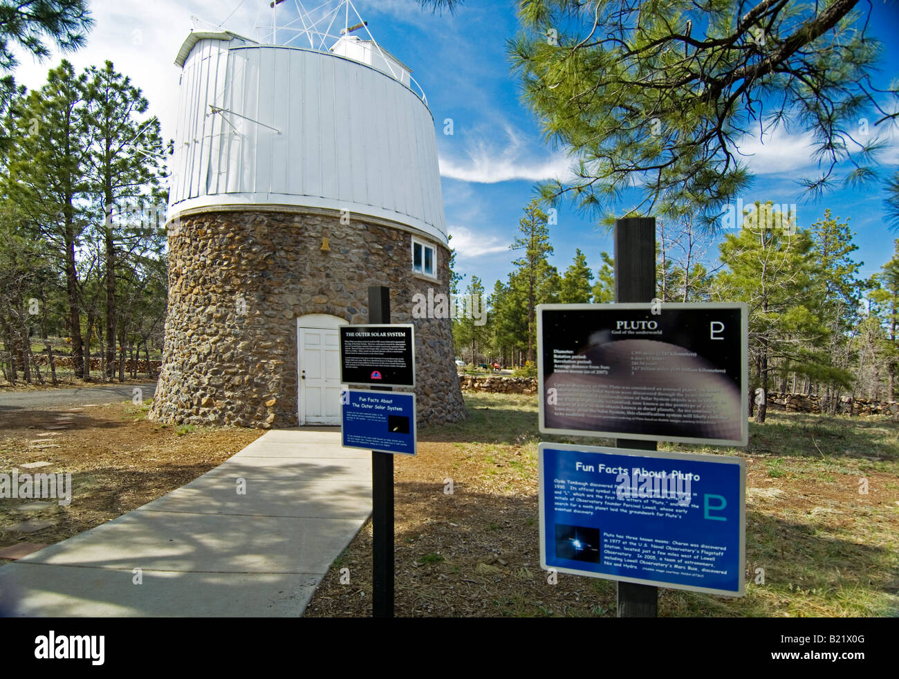 The Pluto Dome at the Lowell Observatory where Clyde Tombaugh discovered Pluto. - Stock Image