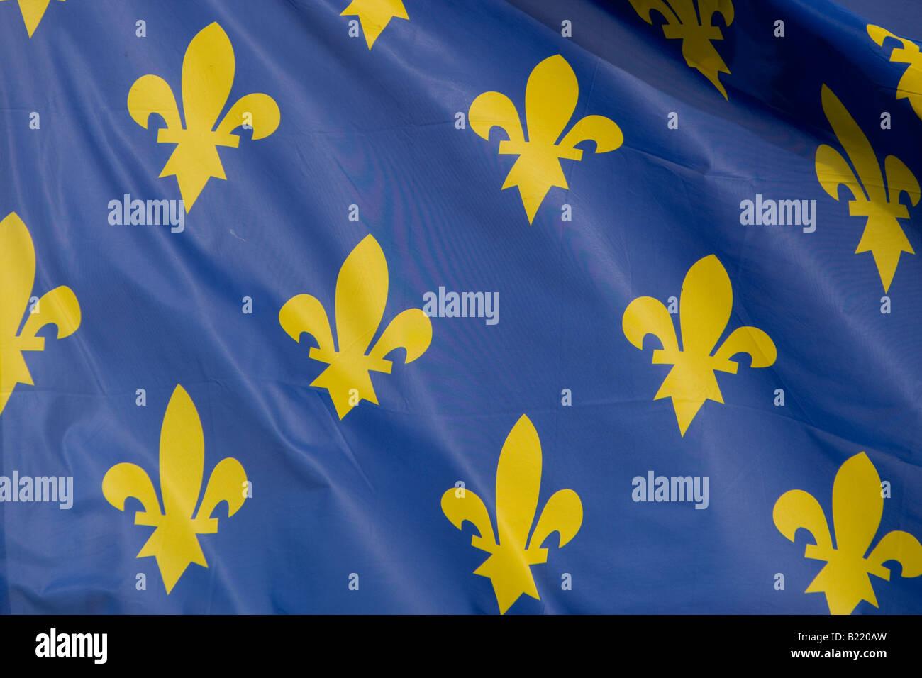 fleur de lys on a blue flag - Stock Image