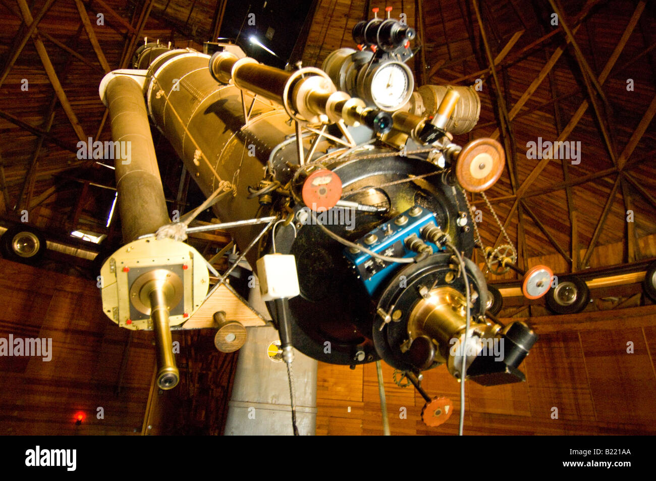 The refracting telescope in the Pluto Dome at the Lowell Observatory where Clyde Tombaugh discovered Pluto. - Stock Image