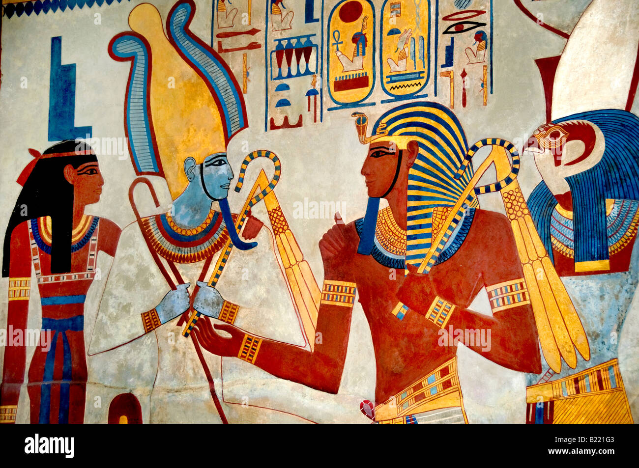 Cast of wall of tombs King Sety 1290 1279 King Merenptah meeting greeting the gods 1213 1204 replica by Joseph Bonomi - Stock Image