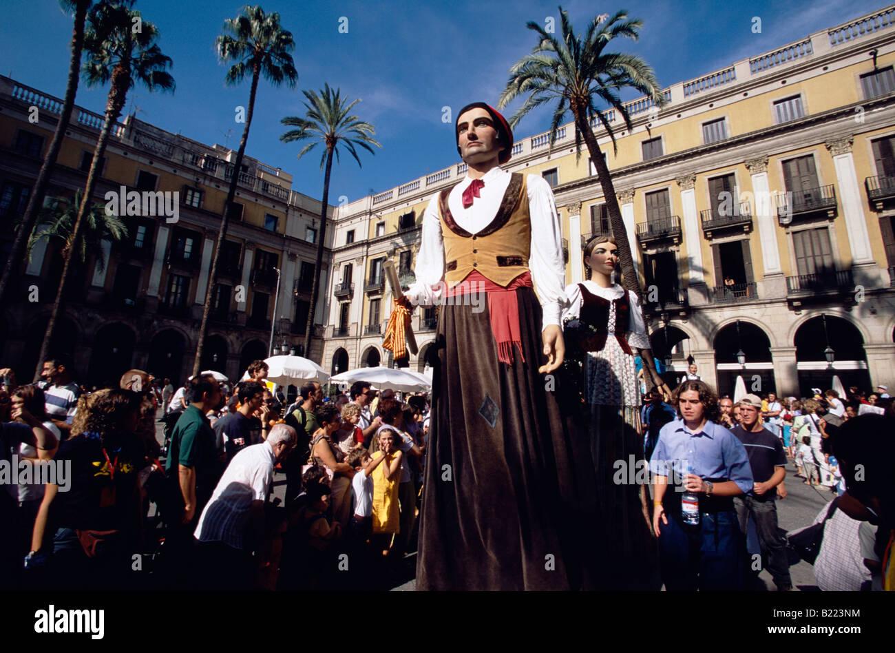 Gegantes 5m Giants Parade at Placa Reial Festa de la Merce Barcelona Catalonia Spain Stock Photo