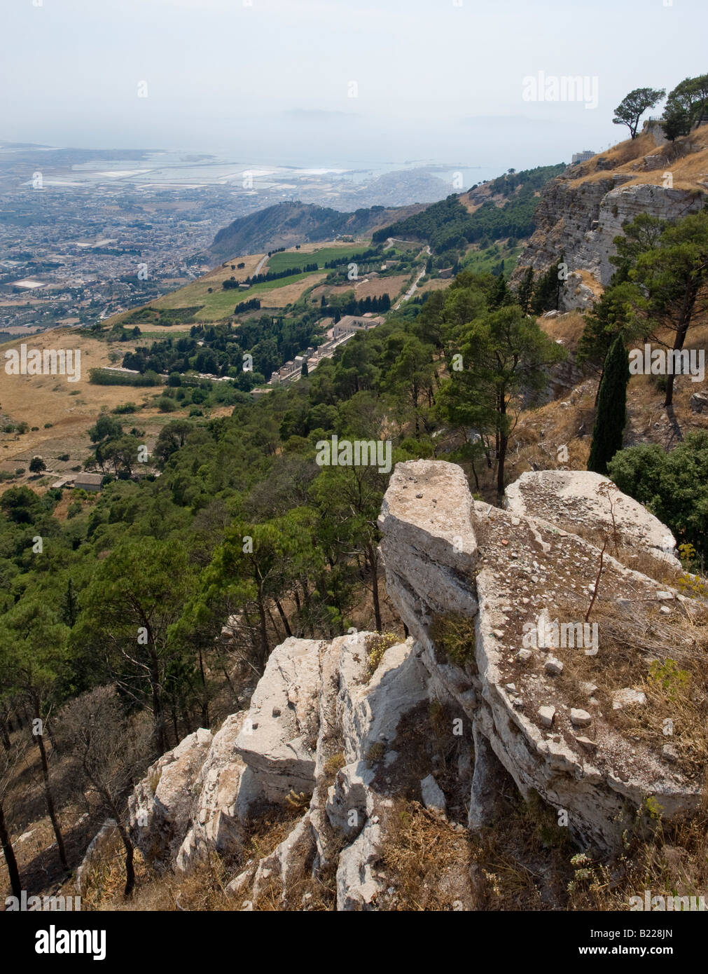 View of Trapani from the hilltown of Erice - Stock Image