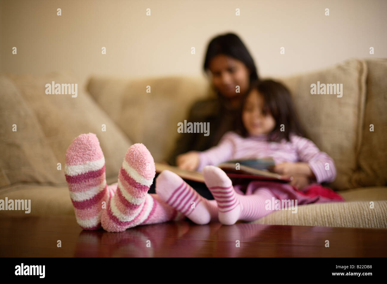 Indian Mother 30s And Mixed Race Daughter 4 Read A Book Wearing