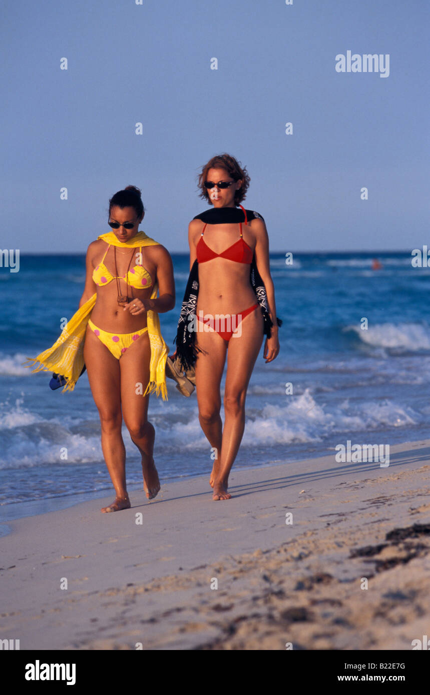 Two Women At Varadero Beach Cuba Caribbean