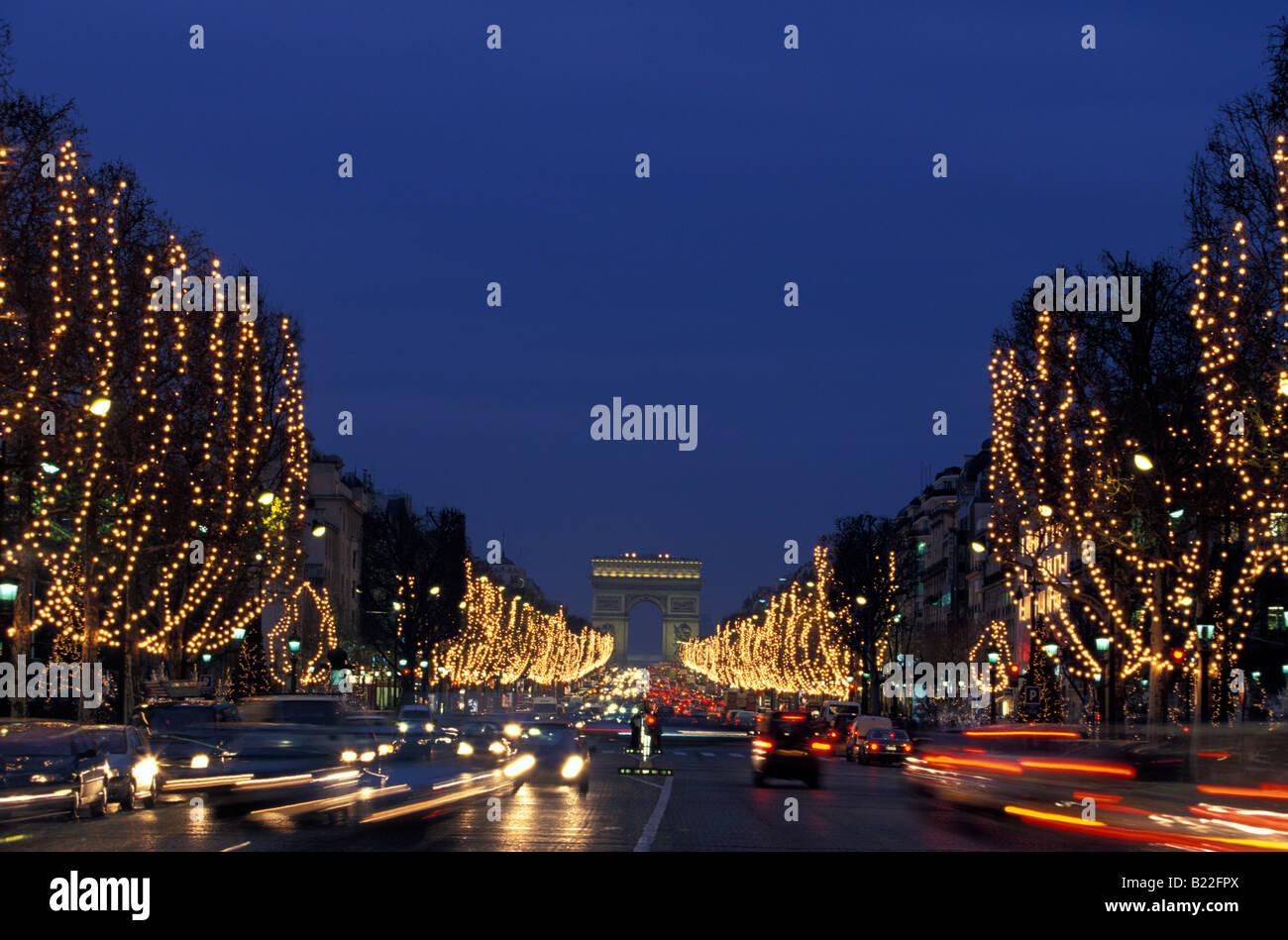 Christmas Lights In Paris.Christmas Lights Arc De Triomphe And Champs Elysees Paris