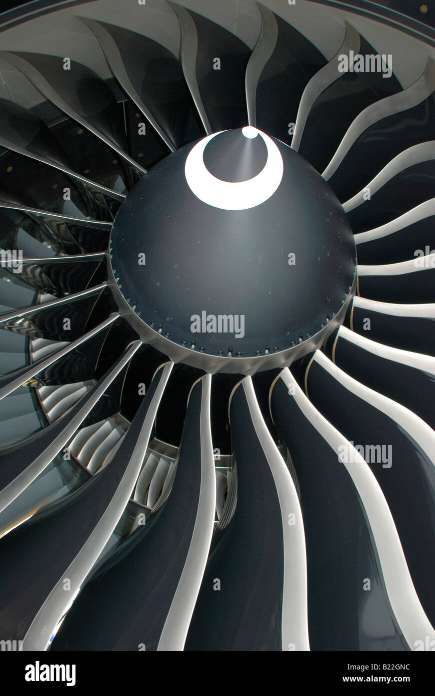 boeing 777 jet engine blades.largest turbofan engine in service. - Stock Image