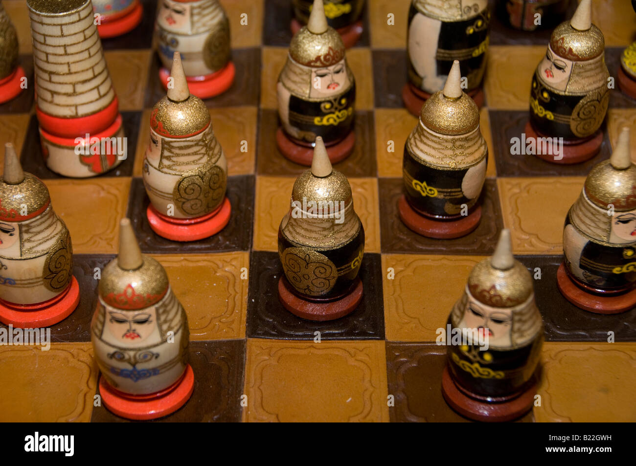 Decorated chess game set. Kazakhstan - Stock Image