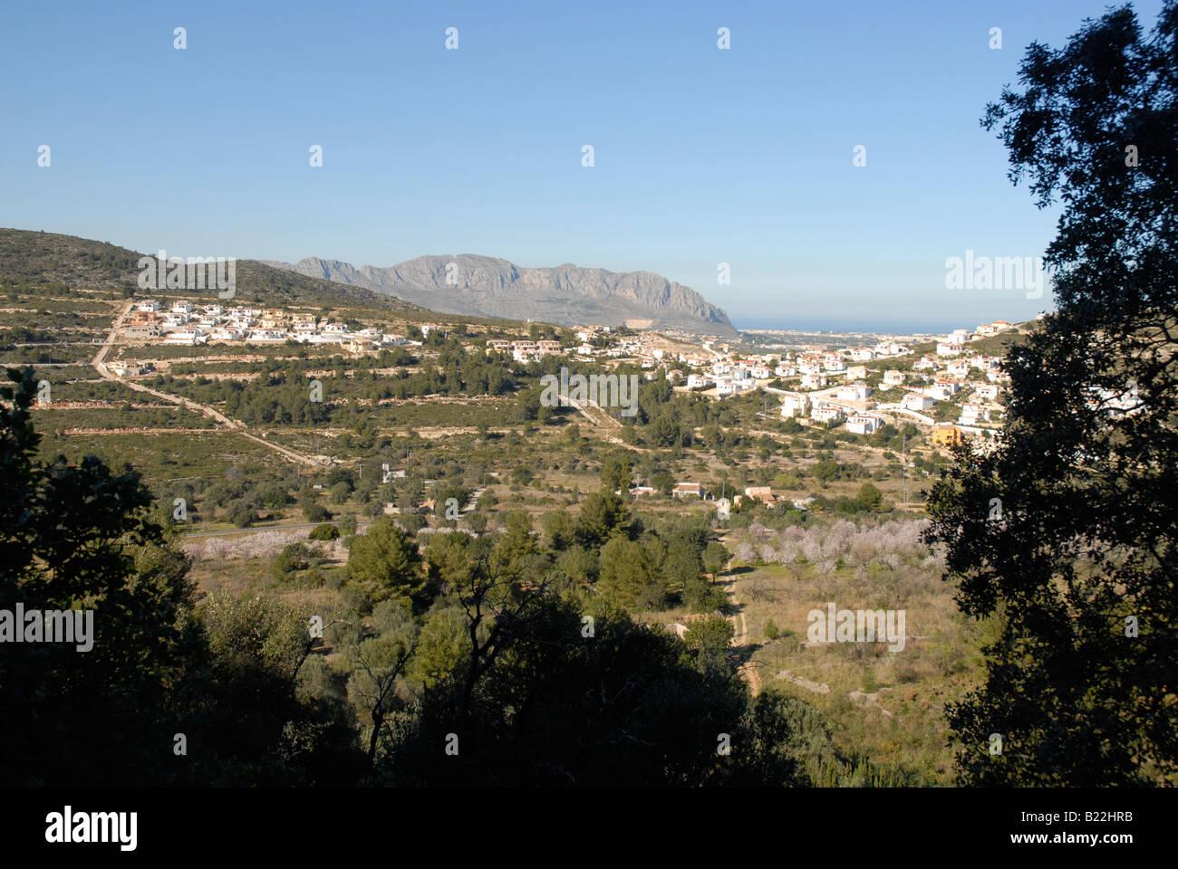 view to new housing development, near Pedreguer, Marina Alta, Alicante province, Spain - Stock Image