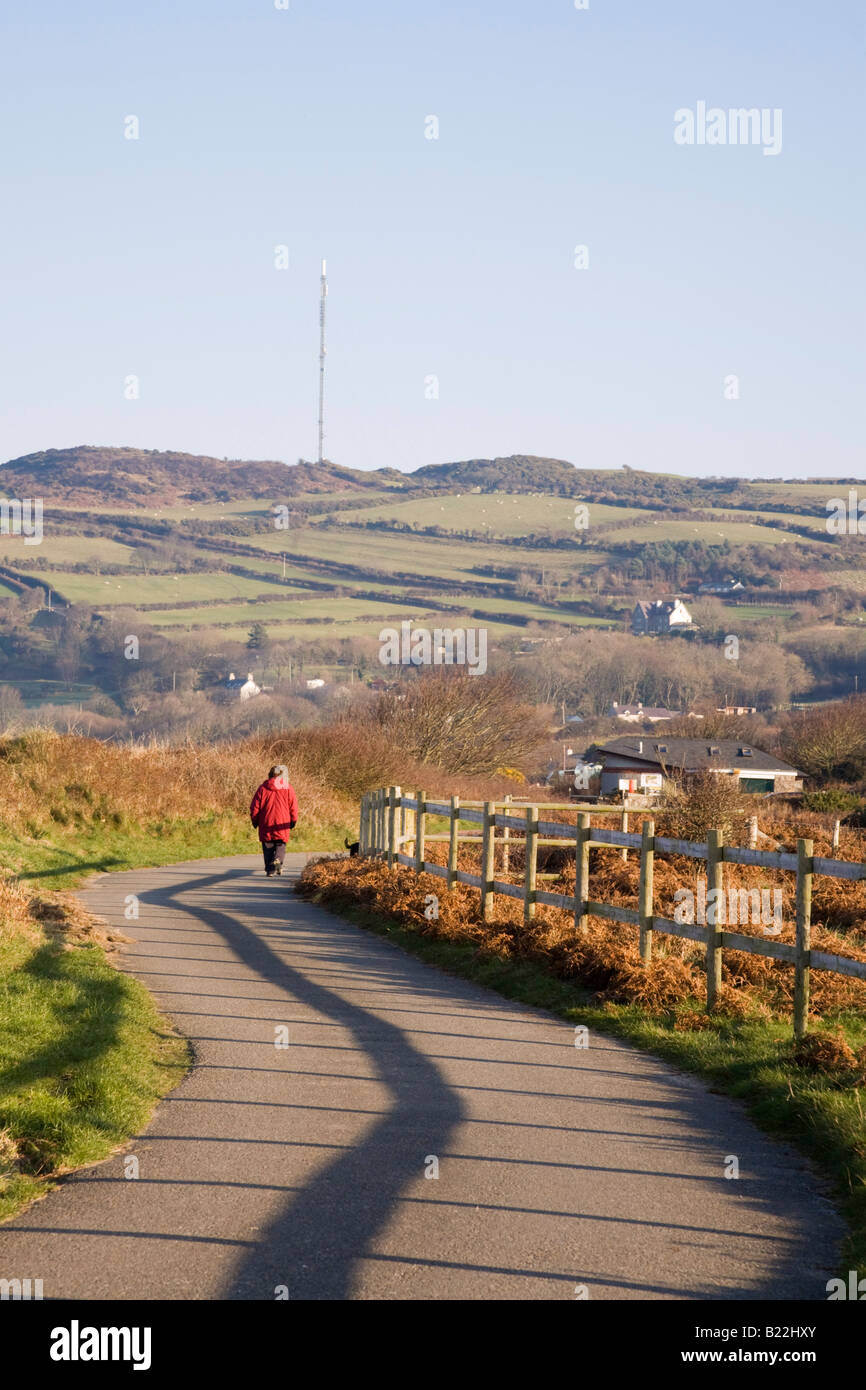 Single track country lane with a person walking away and fence shadow line in sunshine. Isle of Anglesey North Wales - Stock Image