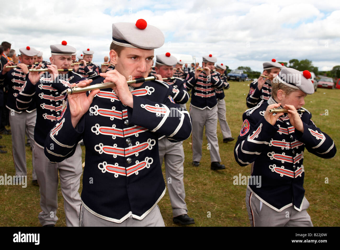 members of loyalist flute band playing during 12th July Orangefest celebrations in Dromara county down northern - Stock Image
