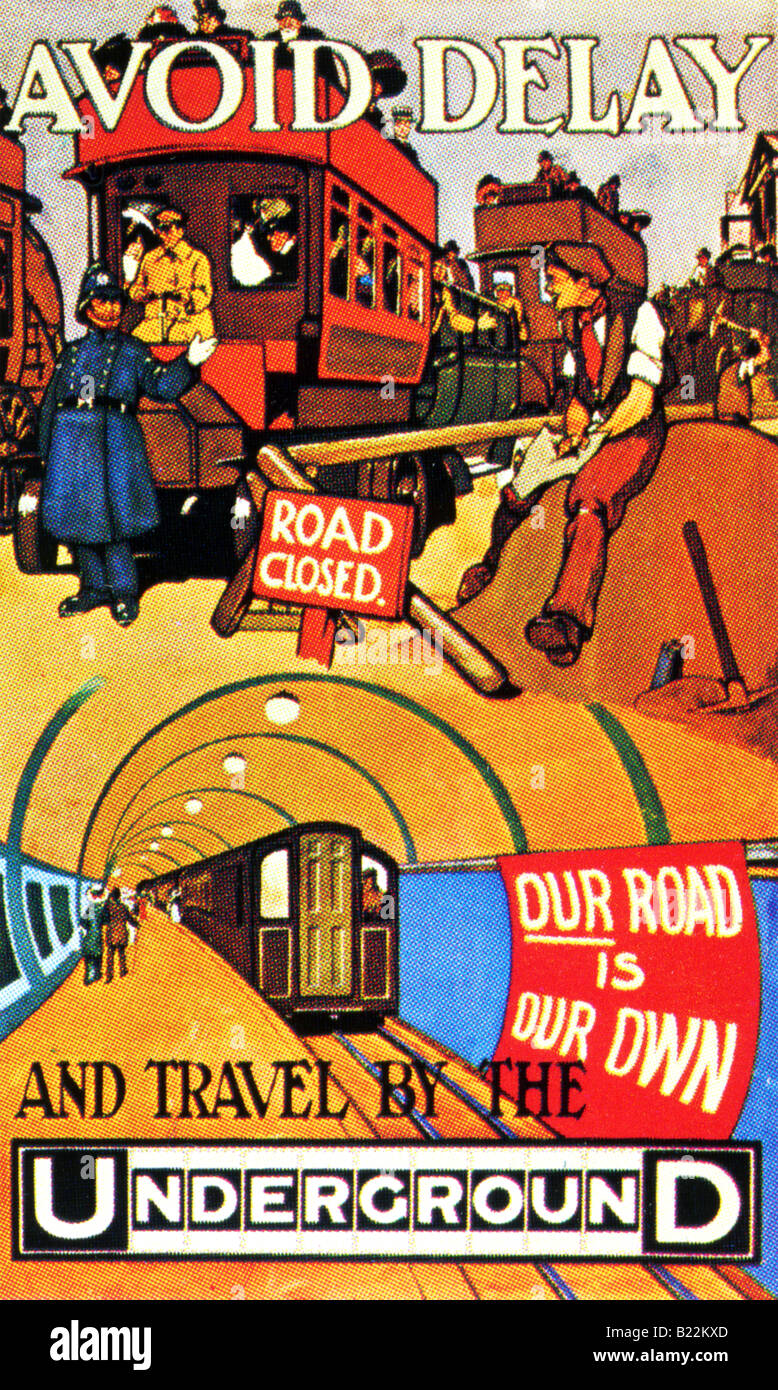 Edwardian design on a London Underground Poster of 1910 Avoid Delay Our Road is Our Own  FOR EDITORIAL USE ONLY Stock Photo