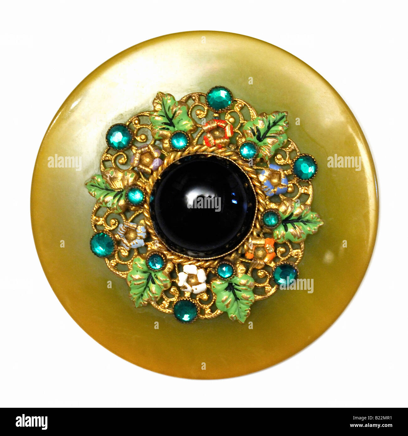 1930s A Phenolic filigree painted enamel brooch - Stock Image