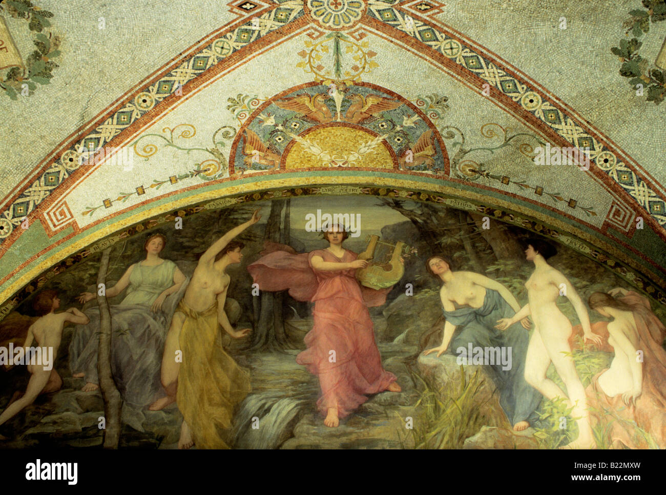 USA Washington DC The Library of Congress Interior wall and painted ceiling decoration. Allegorical painting in - Stock Image