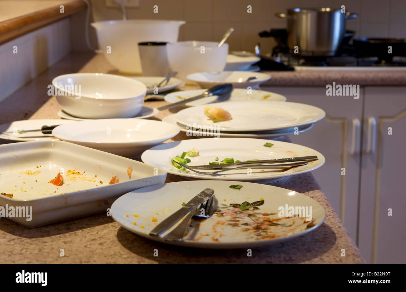 Magnificent Dirty Plates On A Kitchen Bench Stock Photo 18500072 Alamy Interior Design Ideas Clesiryabchikinfo