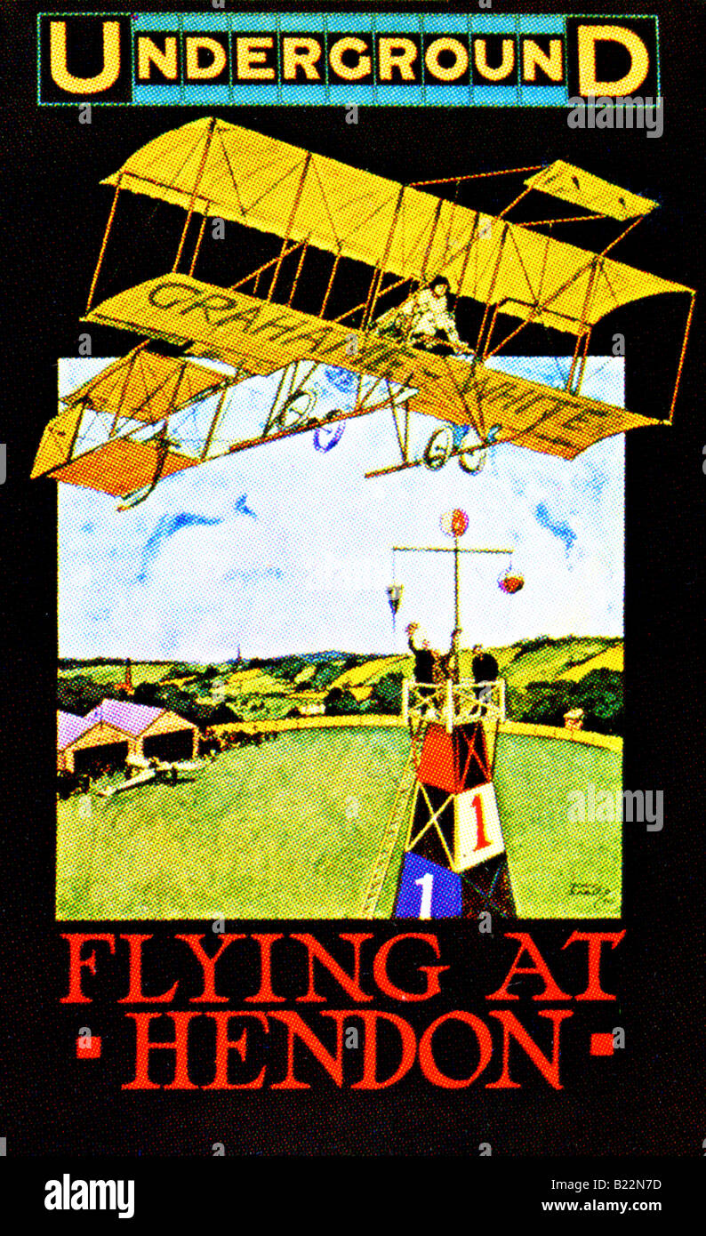 Edwardian design on a London Underground Poster of 1910 Flying at Hendon FOR EDITORIAL USE ONLY - Stock Image