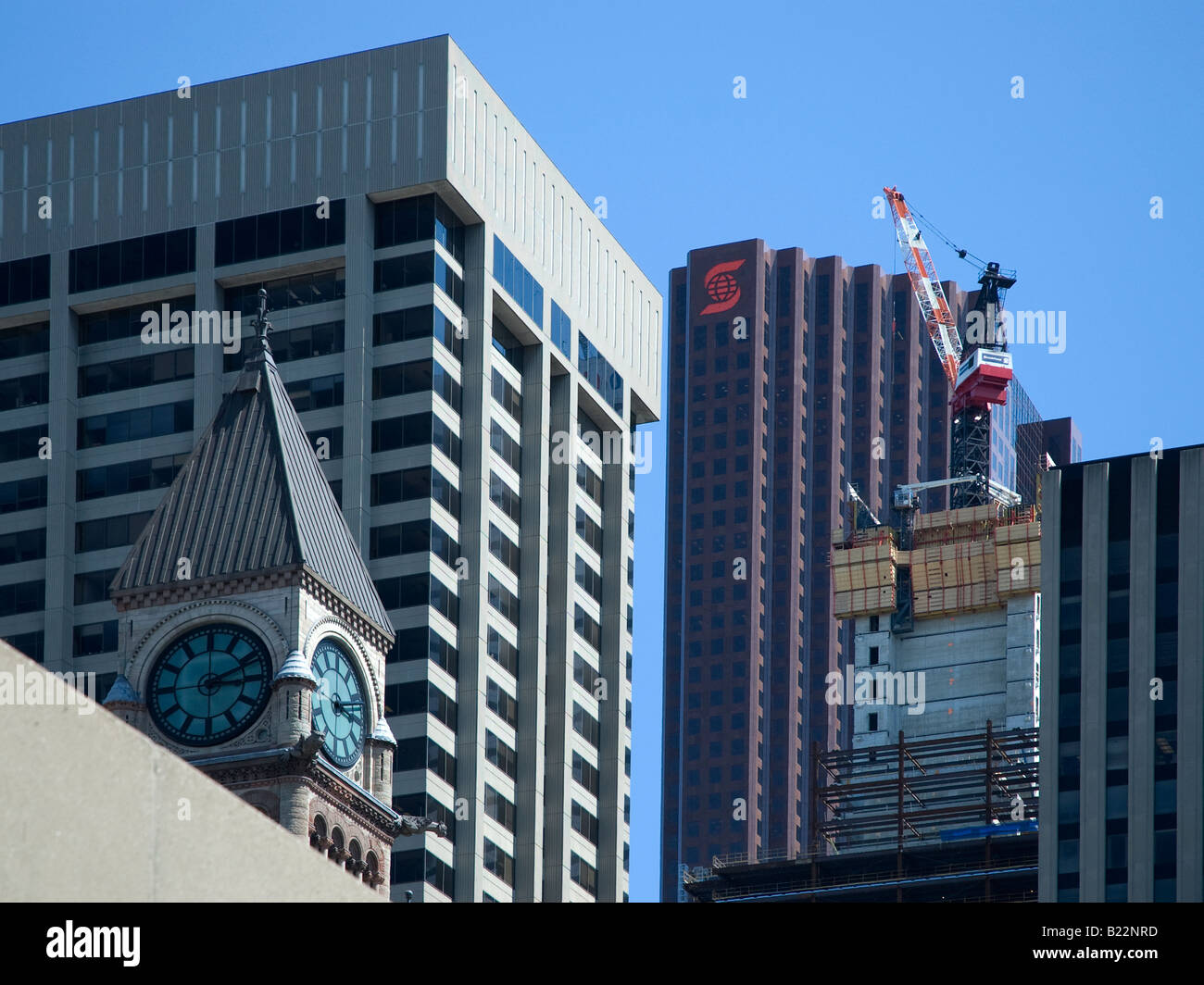 Hi-rise construction on downtown Toronto, Canada. - Stock Image