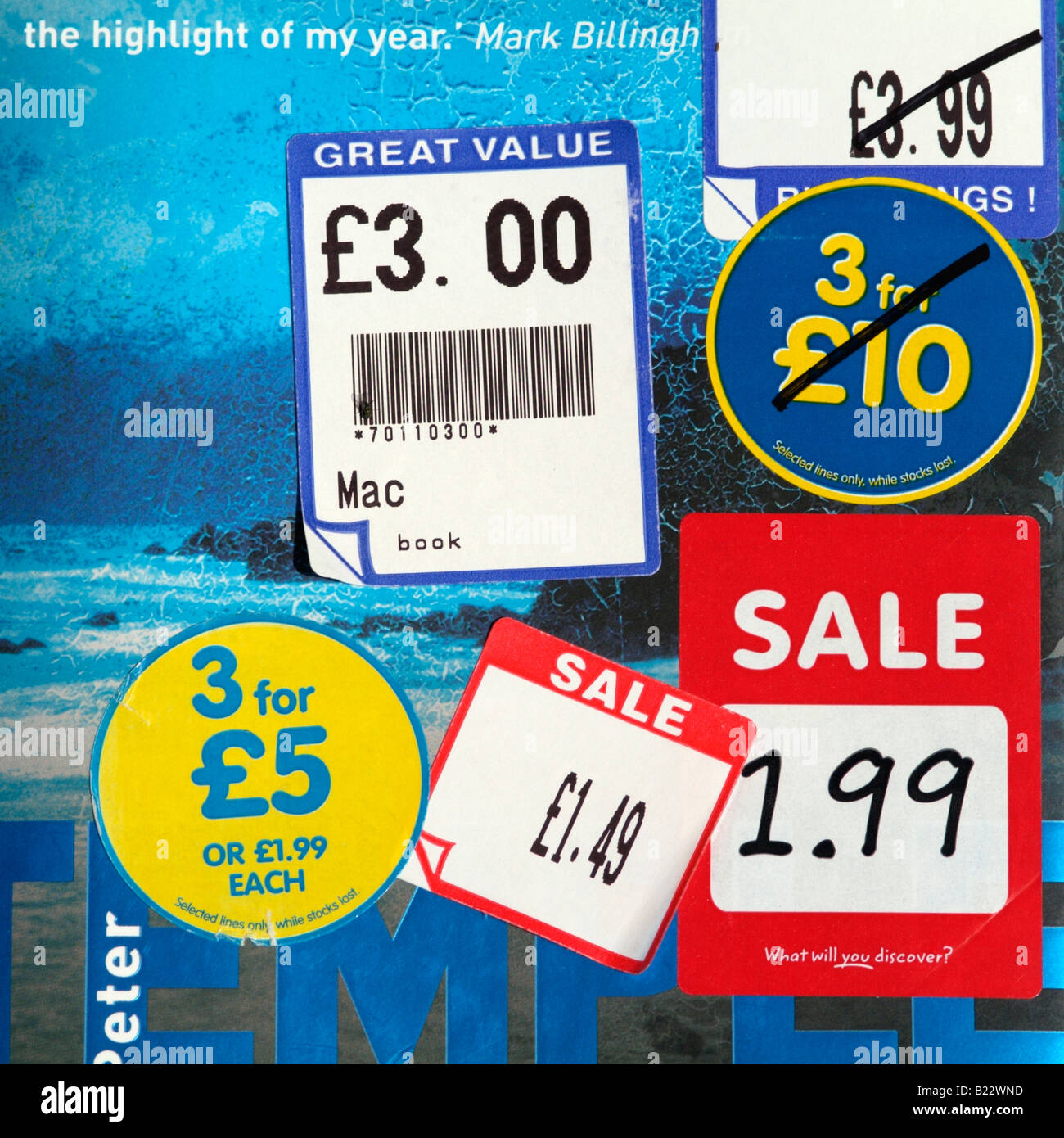 Book sale stickers advertising reduction in cost - Stock Image