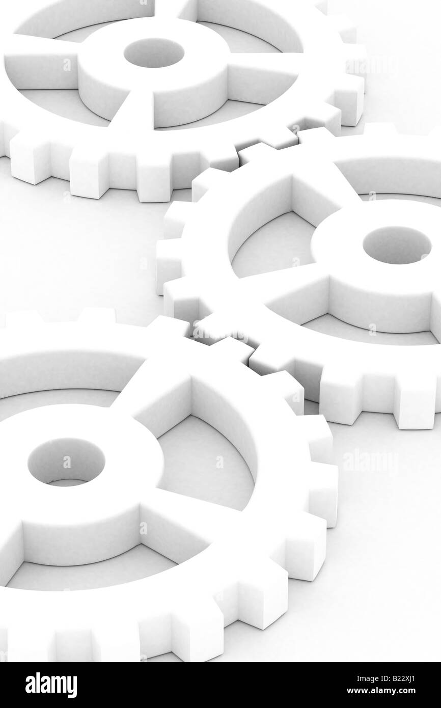 Illustration of white gear wheels over white background - Stock Image