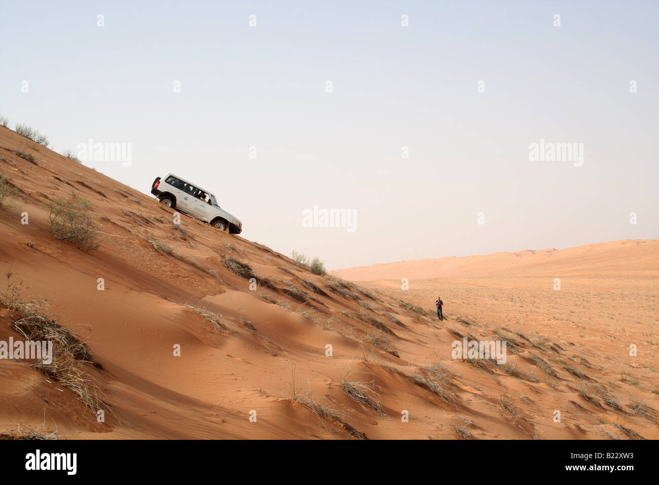 Steep descent, Wahiba Sands, Sultanate of Oman - Stock Image