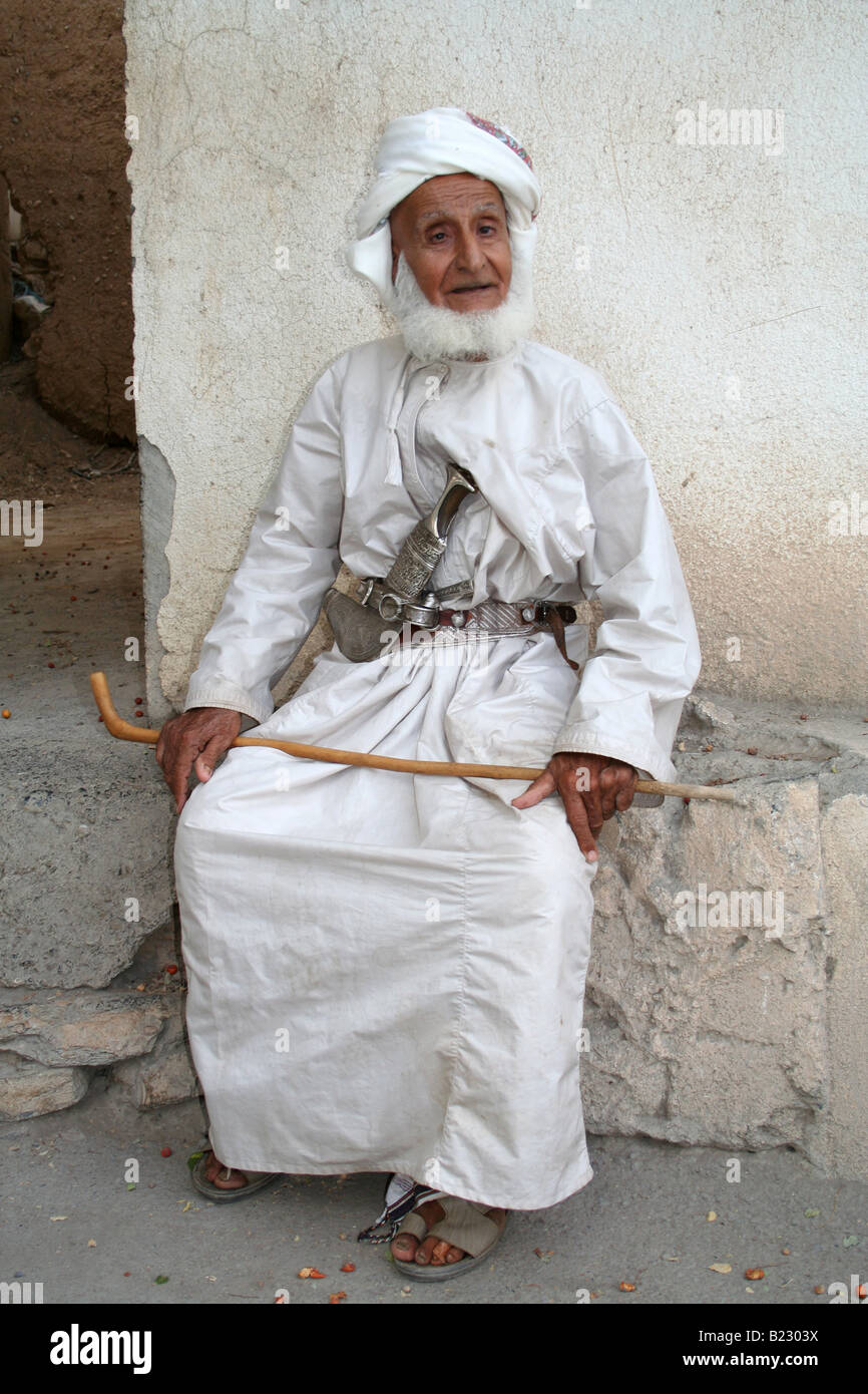 Old man in Al Hamra Sultanate of Oman - Stock Image
