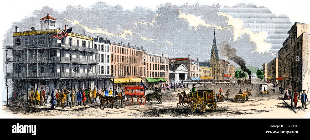 Busy Salina Street in downtown Syracuse New York 1850s. Hand-colored woodcut - Stock Image