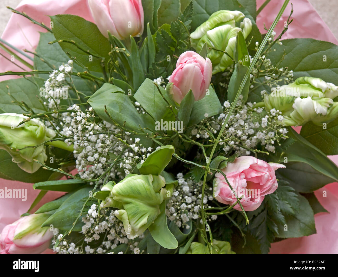 Nice Pink Bunch Of Flowers With Tulips And Babys Breath Stock Photo