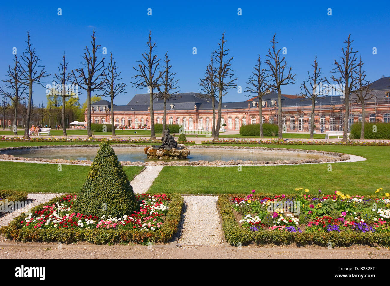 Fountain in formal garden of palace Schwetzingen Castle Baden-Wuerttemberg Germany - Stock Image