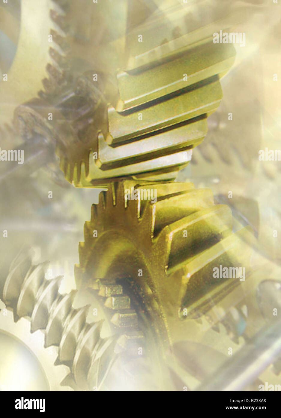 Daily Grind This image is a montage of gears - Stock Image