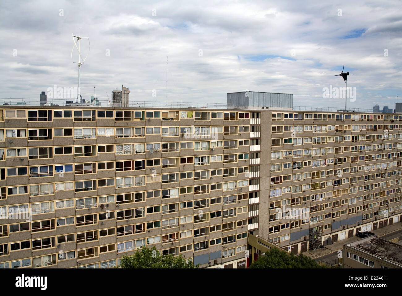 Vertical Axis Wind Turbines on top of a Council Estate in South London England Britain UK Stock Photo
