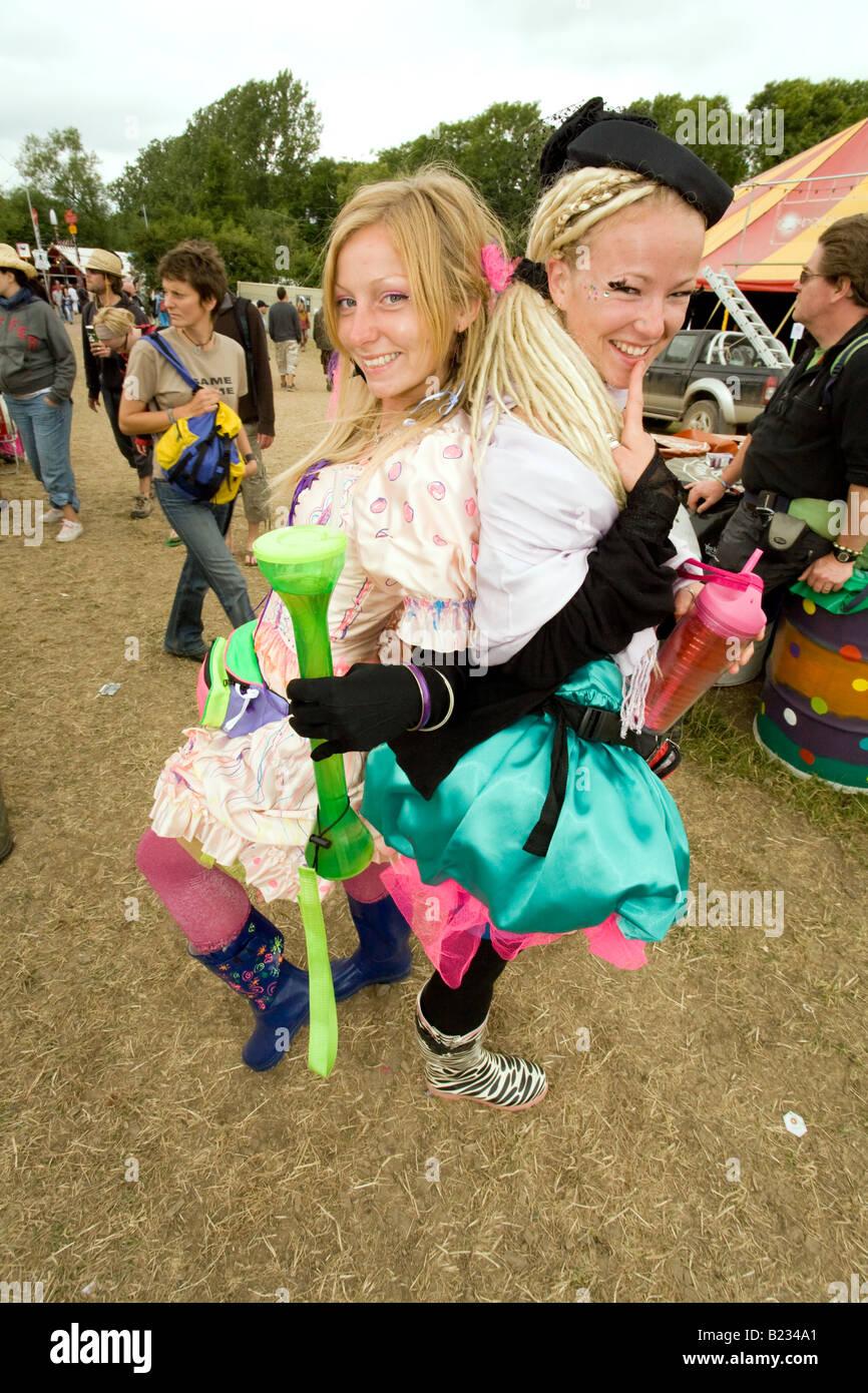 Glamorous ladies at Shangri-la, Glastonbury Festival 2008 - Stock Image