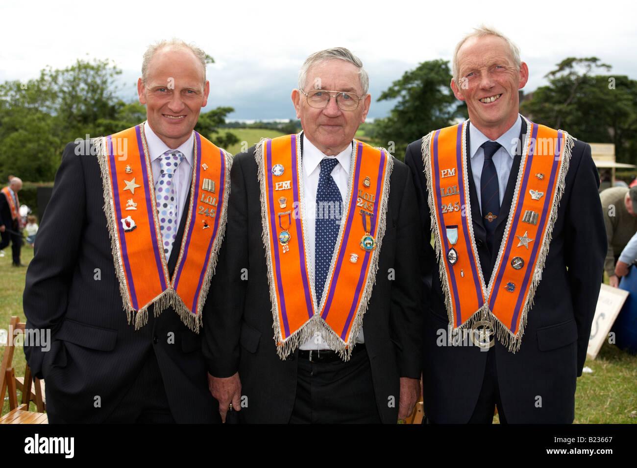three loyal orange lodge 245 orangemen during 12th July Orangefest celebrations in Dromara county down northern - Stock Image