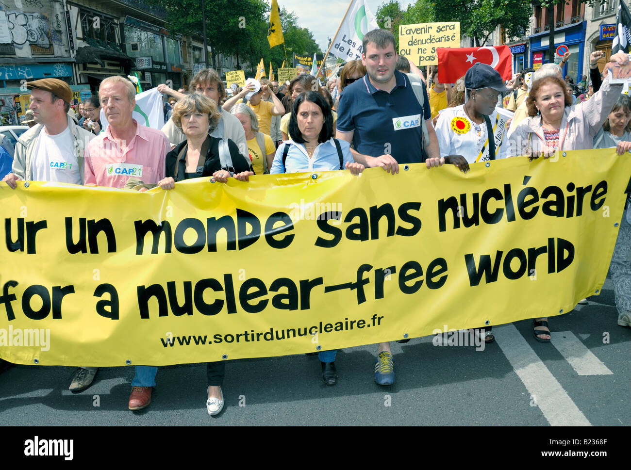 Paris FRANCE, Anti Nuclear Power Demonstration by  Environmental Activists, international NGO Crowd Holding Banner - Stock Image