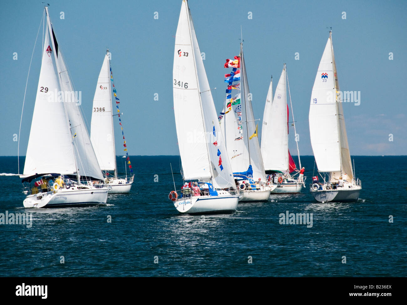Sailboats participating in a Sail Past at the waterfront in Burlington Ontario Canada July 01 2008 - Stock Image