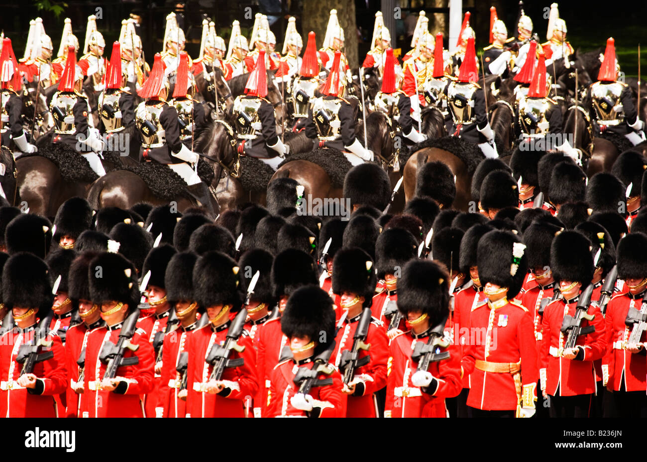 Royal guards in Trooping the Colour ceremony, Wales, London, England,UK Stock Photo