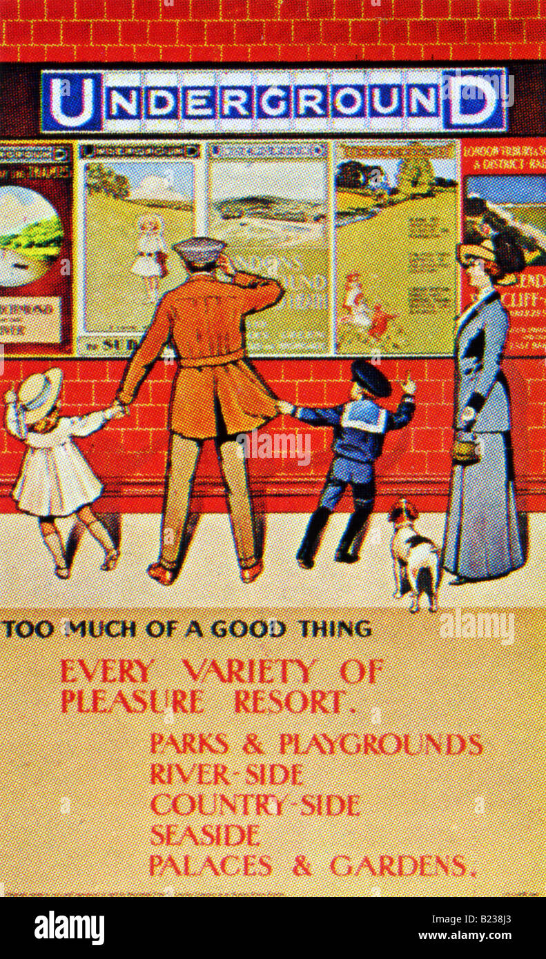 Edwardian design on a London Underground Poster of 1910 Every Variety of Pleasure Resort FOR EDITORIAL USE ONLY - Stock Image