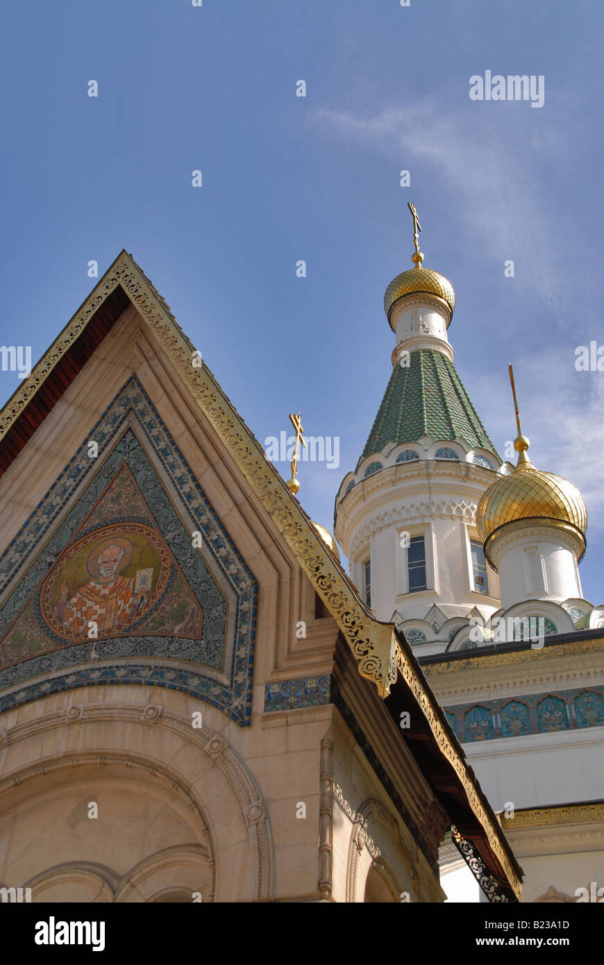 The beautiful Russian Church in the centre of Sofia, Bulgaria. - Stock Image