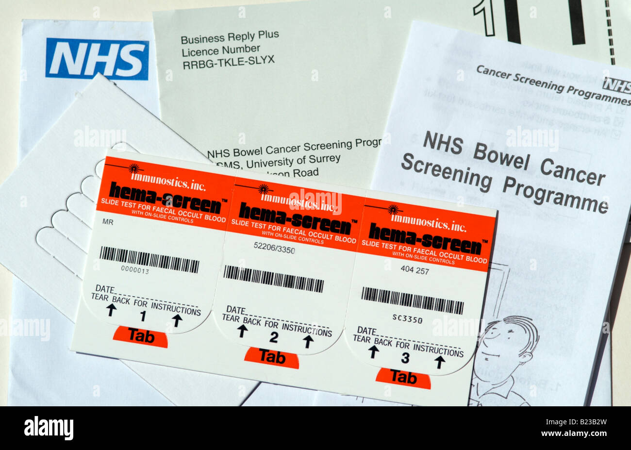 Nhs Bowel Cancer Screening Programme Kit Stock Photo Alamy