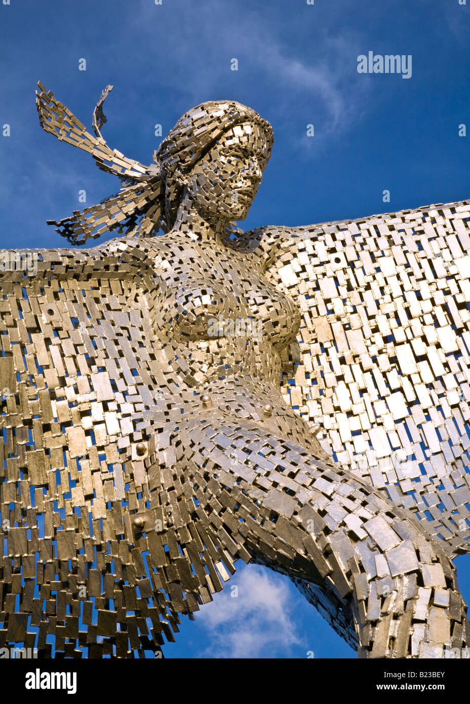 Andy Scott's modern steel sculpture entitled Rise at Glasgow Harbour, Glasgow, Scotland. - Stock Image