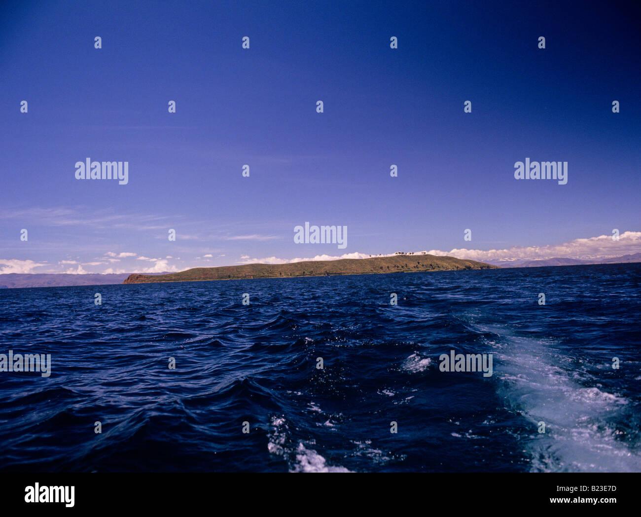 island of the sun or isla del sol lake titicaca bolivia - Stock Image