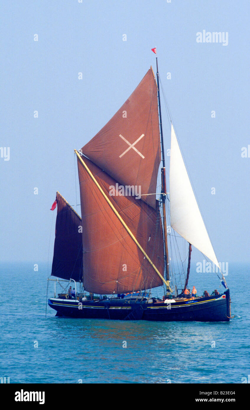 Thames Barge sailing vessel boat Clacton Essex brown sails sailed boat North sea England UK Stock Photo