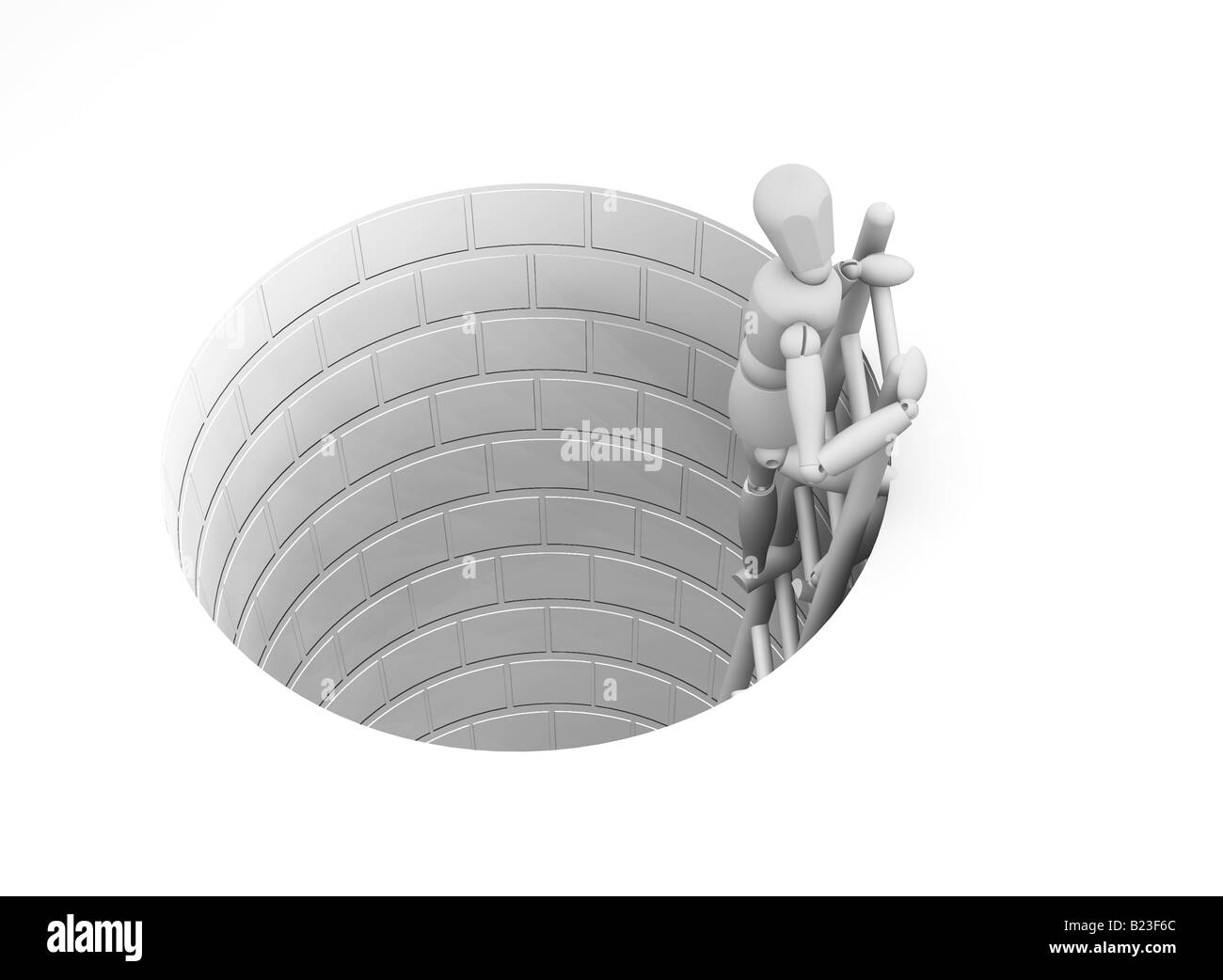 3d Render Of Someone Climbing Out Of A Hole