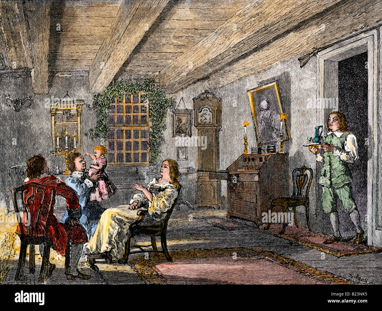 Dutch family at home in colonial New York 1700s. Hand-colored woodcut - Stock Image